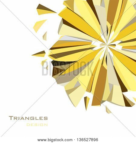 Golden abstract geometric background. Circle gold corner geometric design. Golden crystal geometric abstract triangles design on white background. Golden vector illustration stock vector.