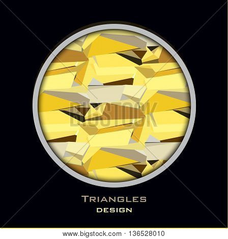 Golden abstract geometric background. Circle frame with gold geometric pattern. Golden crystal geometric abstract triangles pattern on black background. Golden vector illustration stock vector.