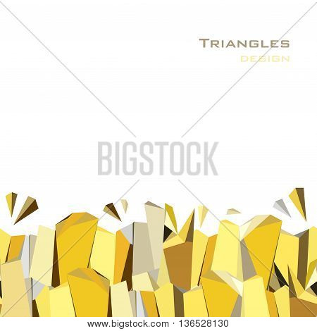 Golden crystal geometric abstract triangles border design on white background. Golden abstract geometric background. Horizontal gold border geometric design. Golden vector illustration stock vector.