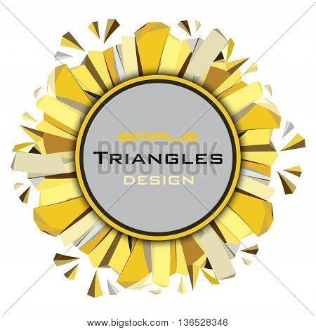 Golden abstract geometric background. Circle gold border geometric frame with label. Golden crystal geometric abstract triangles frame on white background. Golden vector illustration stock vector.