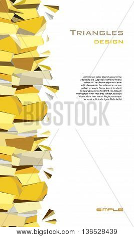 Golden abstract geometric background. Vertical gold border geometric design. Golden crystal geometric abstract triangles border design on white background. Golden vector illustration stock vector.
