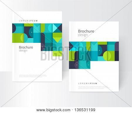 Minimalistic white cover template. Flat style creative concept cover for catalog, report, brochure.  turquoise, violet & blue abstract geometric background. Squares, triangles and circles