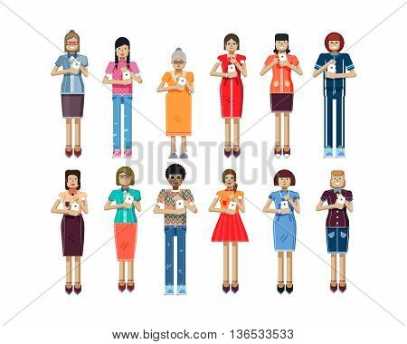 Stock vector illustration isolated set of European, African-American women with smartphone in hands, women looking into screen of phone, touch screen, womens clothes in flat style on white background