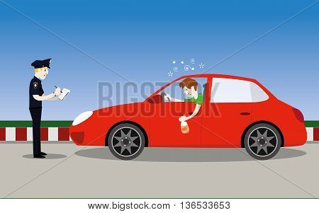 vector illustration of policeman officer arrest drunk young man driver with a bottle of alcohol in car.don't drink and drive concept