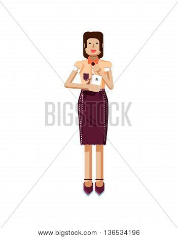 Stock vector illustration isolated of European woman with dark hair, earrings, blouse, touch screen, woman with smartphone in hand, woman looking into screen of phone, flat style on white background