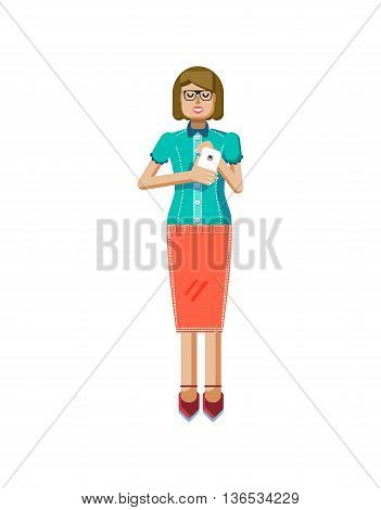 Stock vector illustration isolated of European light brown hair woman, in glasses, woman with skirt, blouse, smartphone in hand, woman looking into screen of phone, flat style on white background