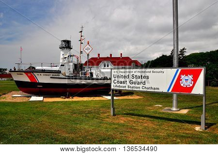 Chatham Massachusetts - July 15 2015: U. S. Coast Guard Cutter and the Chatham Lighthouse  *