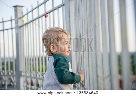 Cheerful little boy climbed up on the fence and smiling at summer park. Little blond boy in the spring on a fence in the park.