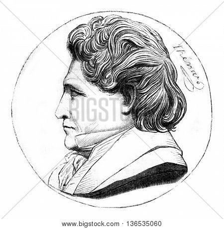 Louis Jacques Thenard, vintage engraved illustration. Magasin Pittoresque 1861.