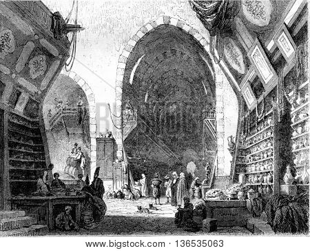 1861 Exhibition of Painting, Misir Charsi drugs bazaar in Constantinople, vintage engraved illustration. Magasin Pittoresque 1861.