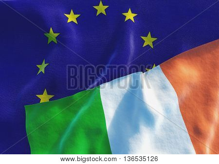 Flags of the Ireland and the European Union. Irish Flag and EU Flag. 3D render