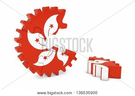 Hong Kongese Flag Gear Puzzle With Piece On Floor 3D Illustration