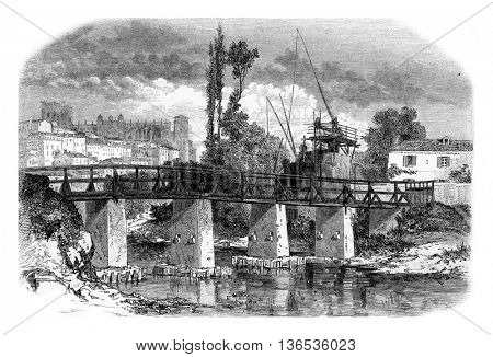 A view of Auch, vintage engraved illustration. Magasin Pittoresque 1861.