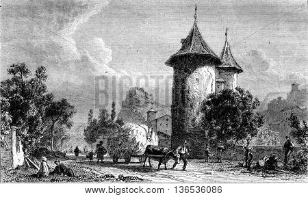 1861 Exhibition of Painting, A View of Sion Valais tower Wizards, by Karl Girardet, vintage engraved illustration. Magasin Pittoresque 1861.