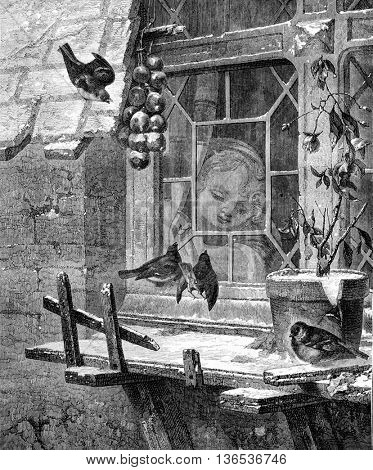 1861 Exhibition of Painting, By snow, vintage engraved illustration. Magasin Pittoresque 1861.