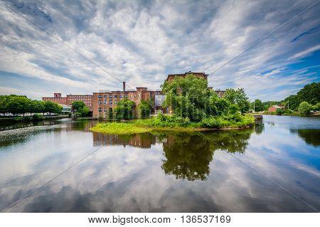 Historic Brick Buildings And The Cocheco River, In Dover, New Hampshire.
