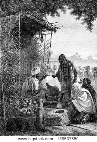 1861 Exhibition of Painting, Restaurant at the door of Shubra in Cairo, vintage engraved illustration. Magasin Pittoresque 1861.