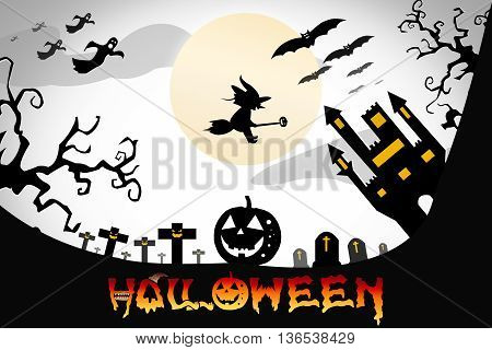 Halloween design background with spooky graveyard naked trees graves and bats