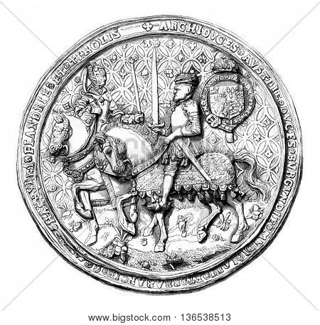 Seal against Mary Tudor and Philip II, vintage engraved illustration. Magasin Pittoresque 1861.