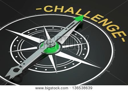 challenge compass concept 3D rendering isolated on black background