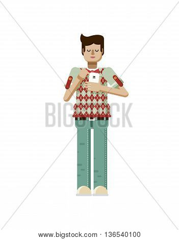 Stock vector illustration isolated of European man with dark hair, man with smartphone in hand, man looking into screen of phone, man in polo shirt with diamond pattern, flat style on white background