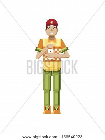 Stock vector illustration isolated of European man with dark hair, huge smile in red cap, man with smartphone in hand, man looking into screen of phone, T-shirt in flat style on white background