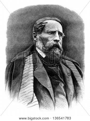 Alexandre Gabriel Decamps, vintage engraved illustration. Magasin Pittoresque 1861.