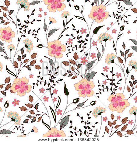 cute little pink flowers seamless pattern background. vector. Pastel pink beige gray on white backdrop.