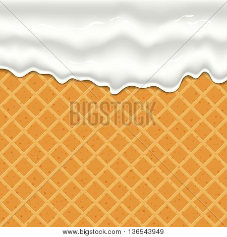 Flowing glaze on wafer texture sweet food vector background abstract. wafer, wafer cream, ice cream, waffle