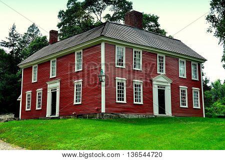 Lexington Massachusetts - July 10 2014: 1735 Munroe Tavern used to house the British Field Hospital and Officers Headquarters' on the eve of April 18 1775 the night before the Battle of Lexington *