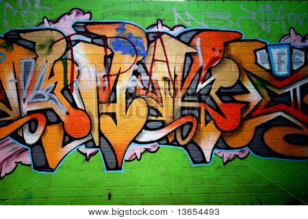 Graffiti tag thats green