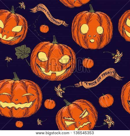 Halloween seamless background with pumpkin. Vector illustration EPS8
