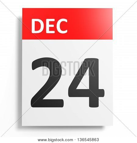 Calendar On White Background. 24 December.