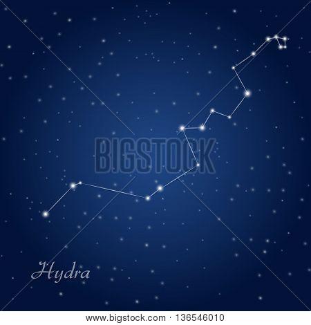 Hydra constellation at starry  dark night sky