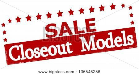 Rubber stamp with text sale closeout models inside vector illustration