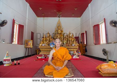 HUAHIN-THAILAND-30APR 2016 : Newly ordained Buddhist monk pray with priest procession. Newly ordained Buddhist monks have a ritual in the temple procession on april 30 2016 in huahinprachuapkirikan Thailand