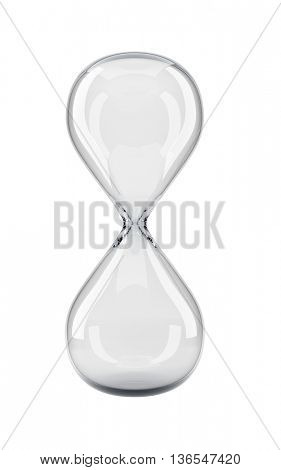 Empty sand glass isolated on white background. Front view of the transparent hour glass bulb 3D rendering.