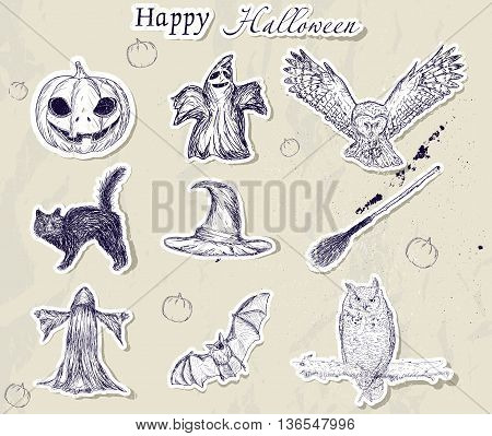 Set of Halloween stickers. Vector illustration EPS8