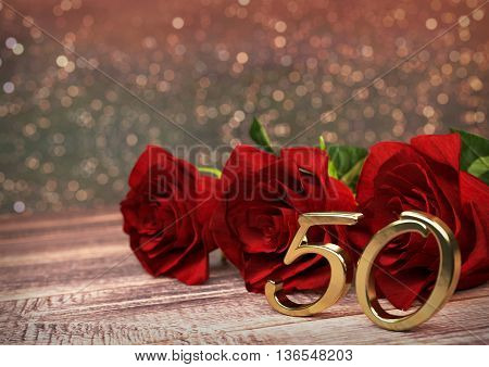 birthday concept with red roses on wooden desk. 3D render - fiftieth birthday. 50th