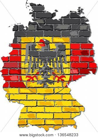 Germany map with emblem on a brick wall - Illustration,   Grunge map and flag of Deutschland on a brick wall,  Germany map with flag inside,  Germany flags in brick style