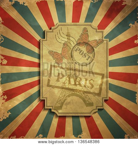 Paris in vintage style poster with butterfly, vector illustration grange background