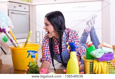 Frustrated Cleaning Lady