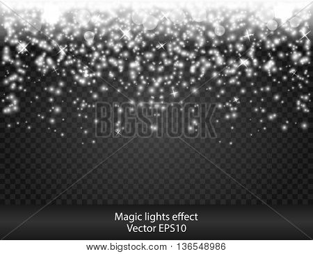 Glow special effect light, flare, star. Firework. Isolated spark. Really transparency. White light Shooting Stars