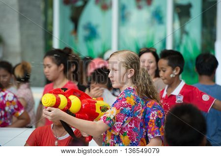 HUAHIN THAILAND-APR13:Songkran Festival is celebrated in Thailand as the traditional New Year's Day from 13 to 15 April by throwing water at each other on 13 April 2016 in prachuapkirikan