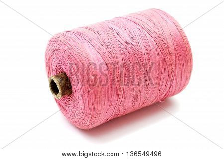 Pink Thread Spool Isolated on White Background