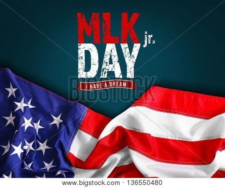 Martin Luther King Day. Flag of United States of America on dark background