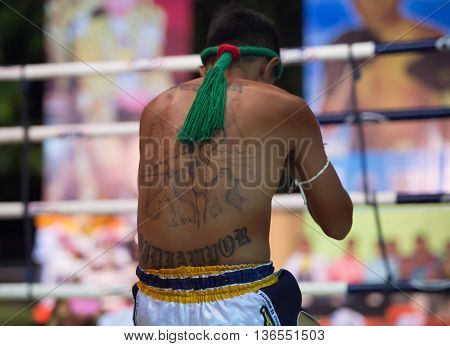 Huahin Thailand-16Apr,2016:unidentified People,muaythai,thai Boxing Martial Art Of Thailand At Huahi