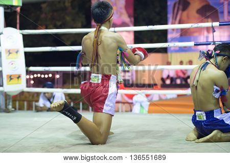 Huahin Thailand-16Apr,2016:unidentified People,boxer Victory Lane,thai Boxing Martial Art Of Thailan