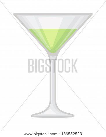 Alcohol cocktail with cherry isolated. Drink glass cold alcohol beverage cocktail. Refreshment fruit summer cool party juice cocktail. Transparent martini mixed drink vector.
