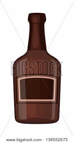 Full whiskey bottle shot drink. Vector whiskey bottle brown drink. Brown whiskey bottle beverage liquor bar cognac amber, drunk ireland flavor. Taste screw scottish cocktail.